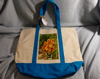 Large Tote Bag with zipper closure - Marigold with Daddy Long Legs - Light Blue Accents