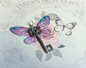 Enchanting Fairy-Winged Key Pendant (with silver-plated chain)