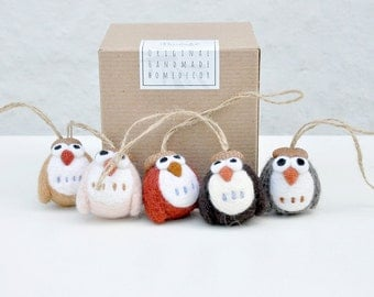 needle felt Owl ornament set of 5, needle felt animal, amigurumi owl, felt christmas ornament, woodland animal ornament, woodland nursery
