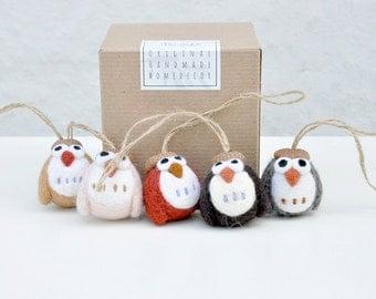 needle felt Owl ornament set of 5, needle felt animal, amigurumi owl, felt christmas ornament, woodland animal ornament, woodland nursery