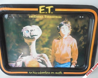 Vintage 1982 E.T. Metal Dinner/Snack/T.V. Serving Tray with Legs