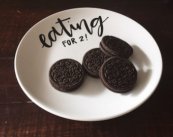 eating for two // pregnancy announcement plate