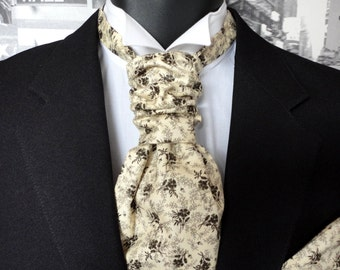 Scrunchy Wedding Cravat, cravats for men, men's cravats, black roses on cream cotton, groomsmen cravat,