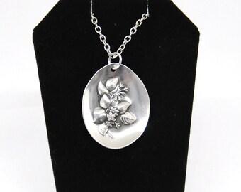 mayflower necklace, flower necklace, vintage necklace, spoon necklace