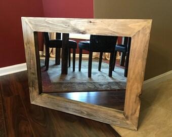 Barnwood effect distressed framed mirror