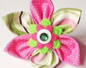 Pink and Green Striped Collar Flower for Girl Dog or Cat