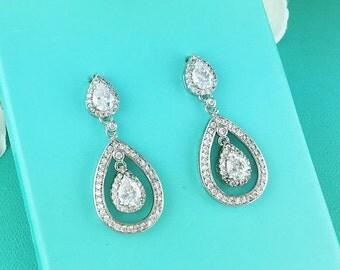 Wedding Earrings, pave cubic zirconia earrings, wedding jewelry, bridal jewelry, teardrop wedding earrings, earrings 204860461