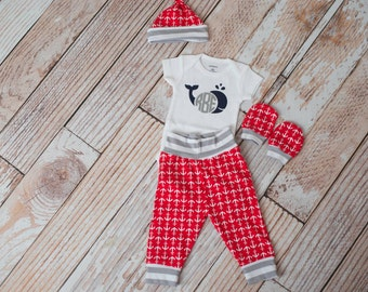 Personalized Nautical Anchors Summer Baby Pants, Hat, and Mitts Set with Whale and Initials Bodysuit in Grey Stripe Trim/Red