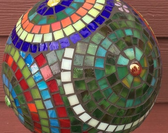 Mosaic Stained Glass Colorful Circles Garden Orb