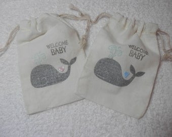 BABY SHOWER FAVORS, Shower Gift Bags, 4 x 6 Party Bags, Baby Boy Favors, Baby Girl Favors, Baby Shower Thank you, New Baby Gift Bags, Whales