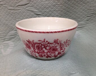 Carr China Dayton Pattern, Dayton Custard Cup, Soup Cup, Pink Dayton from Carr China, Red Transfer, Restaurant China, Railroad China