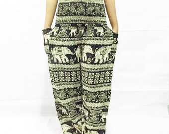 Black Elephant Harem  pants /Hippies pants /Boho pants/Bohemain Pants/Women Trouser Pants Yoga Pants Baggy Pants/Aladdin Pants/Harem pants.