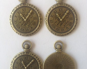 Clock Pocket Watch charm Pendant for jewellery making, Antique Bronze