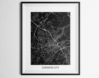 Map of Johnson City, Tennessee Abstract Street Map Print