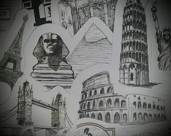 sticker free shipping stickers italy sticker Rome sticker travel stickers adventure sitcker travel sticker Egypt sticker Paris sticker
