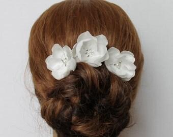 3 White Satin Hair Pins  Wedding Hair Pin Wedding Hair Accessories Bridal Headpiece