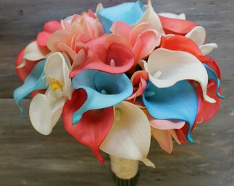 Tropical Wedding Bouquet Turquoise and Coral Bouquet Bridal Bouquet Real Touch Coral Bridal Bouquet Wedding  Bouquets