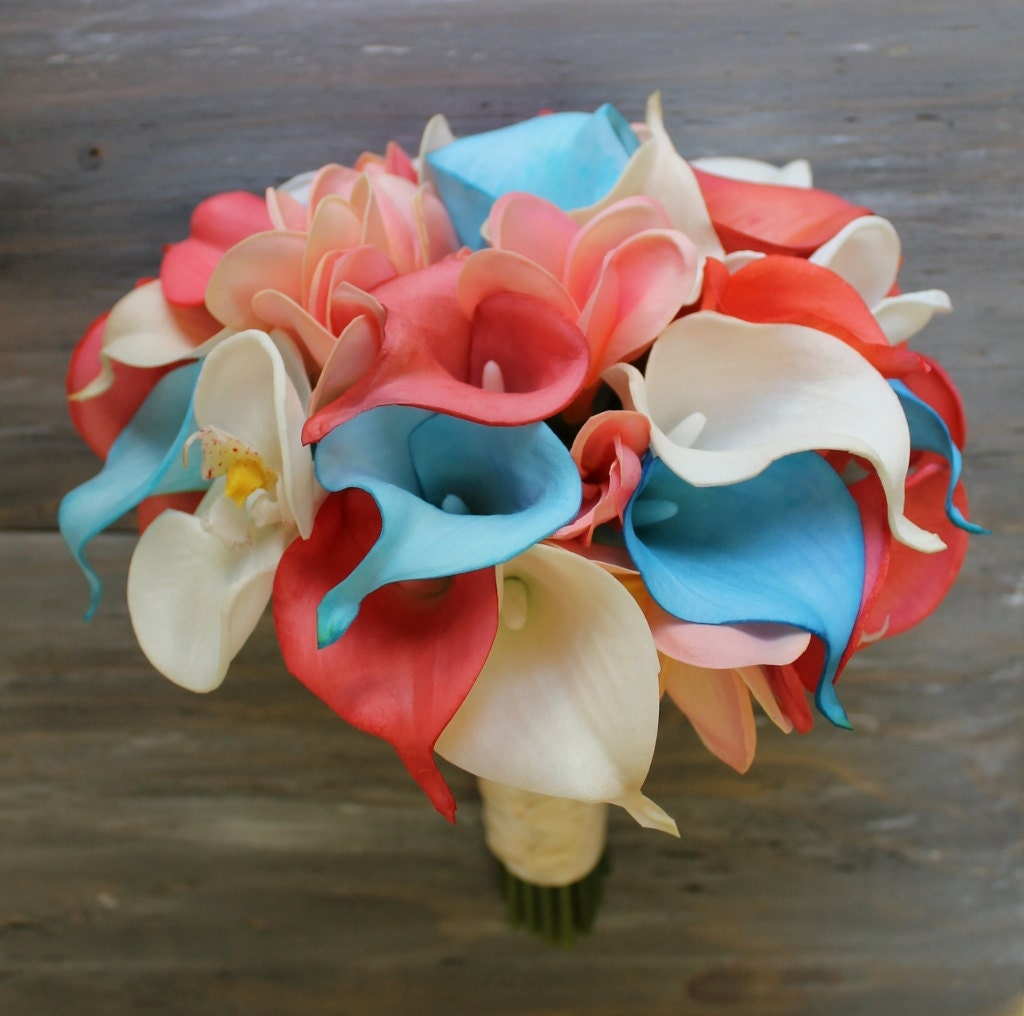 Tropical Wedding Bouquet Turquoise And Coral Bouquet Bridal