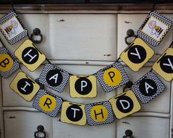 Peanuts Themed - Happy Birthday Banner - Customizeable - (Charlie Brown, Snoopy, etc.) - Classic Peanuts - Peanuts the New Movie
