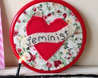 Feminist - Felt Embroidered wall hanging