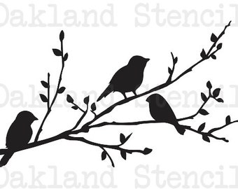 """Birds on a branch silhouette STENCIL 8"""" x 12"""" for Painting Signs, Wood, Fabric, Canvas, Airbrush, Crafts, Wall Decor, Scrapbook"""