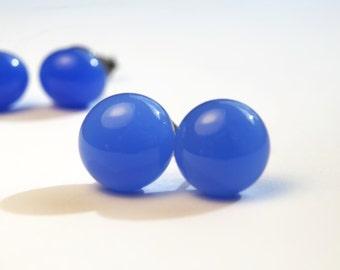 Light Periwinkle Blue Glass Stud Earrings on titanium posts