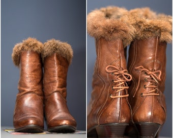 Vintage Leather ankle boots / Brown leather boots / Autumn /Winter / Fur and Leather Mix boots