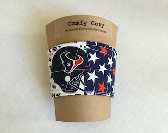 Reusable Fabric Coffee Sleeve - Houston Texans  Fabric