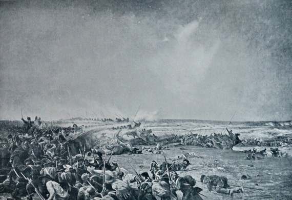 Battle of Fère-Champenoise . Antique lithograph. 111 years old print. 11'7 x 8'2 inches.