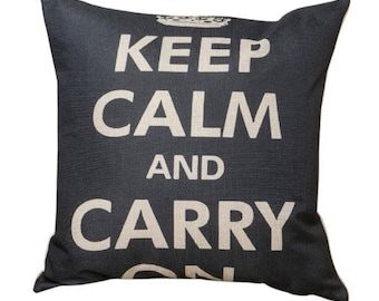 Keep Calm and Carry On - Black Pillow Cover
