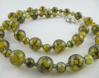 Set necklace and bracelet Netzchachat green (E10)
