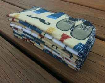 Clearance!  Set of 10 - Little Man Cloth Wipes