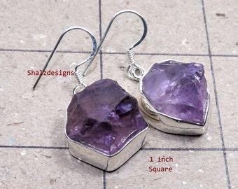Rough Amethyst Earring, Raw Amethyst Stone  Earring, Plain Earring, Gemstone Earring, Rough Earring, 925 Sterling Silver, Dangle Earring