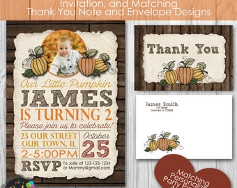 Little Pumpkin Fall Autum Birthday Party, Personalized Printable Invitation, and Thank You Note, Envelopes, Banner and Welcome Sign