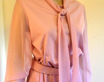 Vintage 1970's Dusty Rose Feminine/ Formal Gown Easy Care/Travel Ready Polyester Knit Poly Chiffon Balloon Sleeves Ties at Neck Approx Med