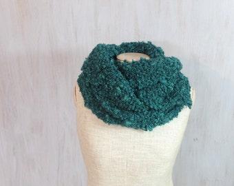 Chunky wool wrap, knit knitted soft scarf, dark green yarn, neck warmer, soft, thick wool, shawl, OOAK