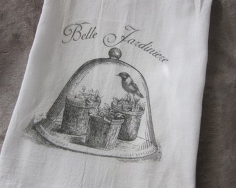 French Inspired Flour Sack Kitchen TEA Towel BELLE JARDINIERE Spring~ Free shipping