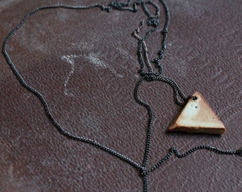 Small Ivory Ceramic Triangle Necklace