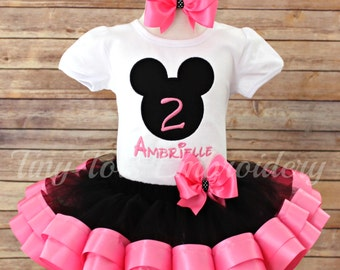 Mickey Mouse Birthday Tutu Outfit ~ Includes Top, Ribbon Tutu & Hair Bow ~ Customize in any colors of your choice!