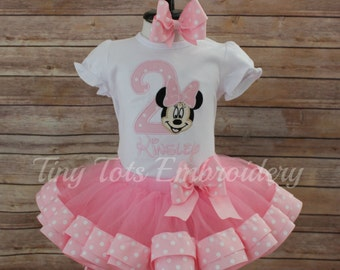 Minnie Mouse Birthday Tutu Outfit ~ Includes Top, Ribbon Trim Tutu and Hair Bow ~ Customize In Any Colors of Your Choice!