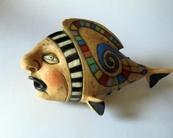 ceramic sculpture - ceramic art - creature - creatures - fish - face - sculpture