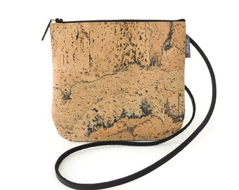 Small Cork Bag, Vegan Crossbody Purse with a Marble Pattern, Mini Crossbody Bag, Cork Purse by Spicer Bags, Made in USA