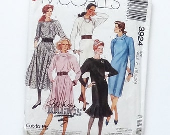Vintage 80's Easy McCall's Misses Dress Sewing Pattern #3924 w/5 Variations - Size F - 16 (Bust 38), 18 (Bust 40), 20 (Bust 42) - UNCUT