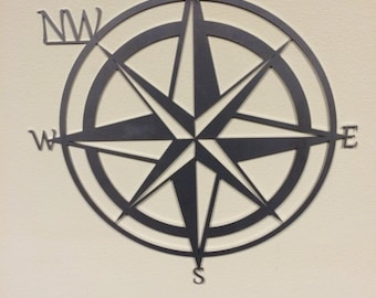 Compass rose / NW compass / NW native / West coast / metal sign / wall hanging / metal wall art / Man cave / CNC / laser cut / North star