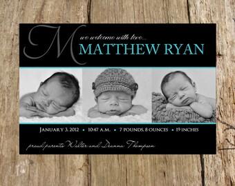 Boy Photo Birth Announcement, Monogram Initial, Digital Printable File