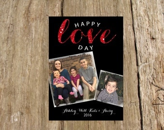 Happy Love Day Red Glitter Valentine's Day Photo Card