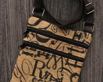Tossed Script Initials Burlap Cross Body Bag