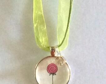 Lollipop Necklace. Pink Lollipop. Original Watercolor Necklace