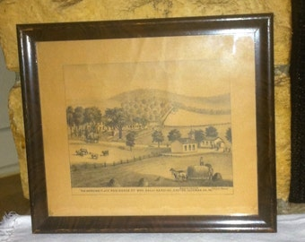 """Framed Lithograph, """"The Harding Place"""", Exeter, Luzurne Co., PA"""