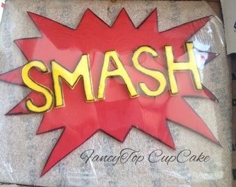 SMASH comic expression Homemade fondant cake topper made by FancyTopCupcake